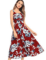 cheap -TS - Dreamy Land Women's Boho Swing Dress - Floral Backless / Print
