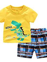 Недорогие -Дети (1-4 лет) Мальчики Лев Полоски / Шахматка С короткими рукавами Набор одежды