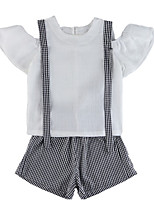 cheap -Kids Girls' Check Short Sleeve Clothing Set