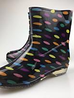 Недорогие -Жен. Обувь КожаПВХ Весна Резиновые сапоги Ботинки На низком каблуке Черный