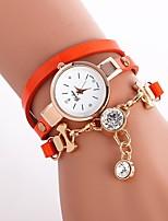 baratos -Mulheres Bracele Relógio Chinês Relógio Casual / Adorável / imitação de diamante PU Banda Amuleto / Boêmio Preta / Branco / Azul