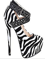 cheap -Women's Shoes PU(Polyurethane) Summer Comfort Heels Stiletto Heel Round Toe Black / White
