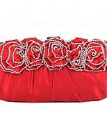 cheap -Women's Bags Silk Evening Bag Flower Black / Red / Silver