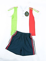 cheap -Kids Girls' Boys' Patchwork Short Sleeves Clothing Set