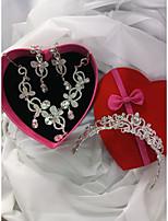 Недорогие -Цирконий Комплект ювелирных изделий - Цветы Мода, Элегантный стиль Включают Серьги-кольца / Коробки для бижутерии / Ожерелья-бархатки Серебряный Назначение Свадьба / Для вечеринок