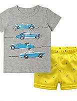 Недорогие -Дети (1-4 лет) Мальчики С принтом / Контрастных цветов С короткими рукавами Набор одежды