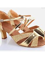 cheap -Women's Latin Shoes Paillette Heel Performance / Practice Stiletto Heel Dance Shoes Gold / Silver