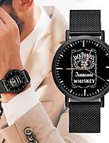 baratos -Homens Relógio Esportivo Chinês Novo Design / Cronógrafo / Criativo Aço Inoxidável / Couro Banda Luxo / Fashion Preta / Prata / Dourada