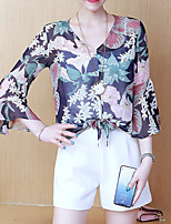 cheap -women's blouse - floral v neck