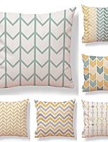 cheap -6 pcs Textile / Cotton / Linen Pillow case, Art Deco / Lines / Waves / Printing Square Shaped / Lovely