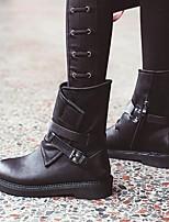 abordables -Femme Chaussures Cuir Hiver Confort Bottes Talon Plat Noir