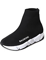 cheap -Women's Shoes Knit Spring Comfort Boots Flat Heel White / Black