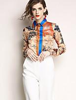 cheap -women's going out shirt - color block shirt collar