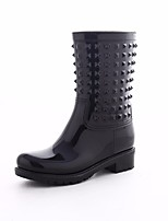 cheap -Women's Shoes PVC Leather Spring Rain Boots Boots Flat Heel for Black
