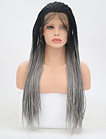 cheap -Synthetic Lace Front Wig Straight Braid Synthetic Hair Natural Hairline Gray Wig Women's Long Lace Front Wig / Yes