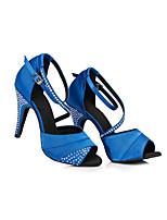 Недорогие -Жен. Обувь для латины Сатин Кроссовки Кристаллы Тонкий высокий каблук Танцевальная обувь Черный / Лиловый / Синий / Тренировочные