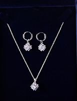 cheap -Women's Cubic Zirconia Jewelry Set - Korean, Fashion Include Hoop Earrings / Pendant Necklace White For Wedding / Gift