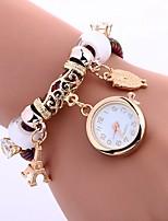 baratos -Mulheres Bracele Relógio Chinês imitação de diamante / Relógio Casual PU Banda Torre Eiffel / Corujas Preta / Azul / Vermelho