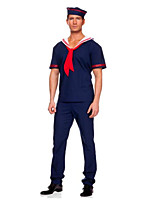 cheap -Mariner Costume Men's Costume Ink Blue Vintage Cosplay Linen / Cotton Blend / Polyster Short Sleeve T-shirt Sleeve