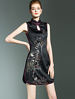 cheap -SHIHUATANG Women's Chinoiserie Sheath Dress - Floral Embroidered