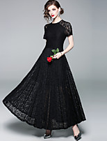 cheap -SHIHUATANG Women's Vintage / Sophisticated Swing Dress - Solid Colored Lace