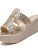 cheap -Women's Shoes PU(Polyurethane) Summer Comfort Slippers & Flip-Flops Creepers Gold / Black / Silver