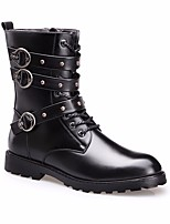 cheap -Men's Shoes Synthetic Microfiber PU Winter Combat Boots / Comfort Boots Mid-Calf Boots Black