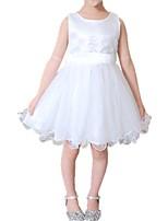 cheap -Kids Girls' Black & White Solid Colored Sleeveless Dress