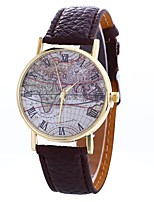 cheap -Women's Wrist Watch Chinese Large Dial / Casual Watch PU Band Vintage / World Map Black / White / Blue