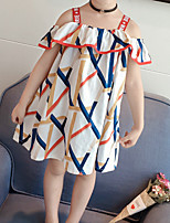 cheap -Kids / Toddler Girls' Blue & White Striped / Color Block Sleeveless Dress