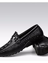 Недорогие -Муж. обувь Кожа Весна Удобная обувь / Мокасины Мокасины и Свитер Черный / Темно-коричневый