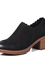 abordables -Femme Chaussures Cuir Nubuck Automne hiver Botillons Bottes Talon Bottier Bout rond Noir / Kaki