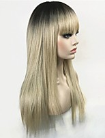 cheap -Synthetic Wig Straight Layered Haircut Synthetic Hair 100% kanekalon hair Blonde Wig Women's Long Capless