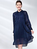 cheap -Proverb Women's Chiffon Dress - Solid Colored Shirt Collar