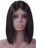 cheap -Remy Human Hair Full Lace Wig Indian Hair Straight Wig Bob Haircut 130% Middle Part Bob / Middle Part / Youth Natural Women's Short Toupees