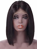 baratos -Cabelo Remy Frente de Malha Peruca Cabelo Indiano Liso Peruca Corte Bob 130% Repartido ao Meio / Repartida ao Meio / Jovem Natural Mulheres Curto Topetes
