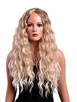 economico -Parrucche di capelli umani con retina Riccio Parte di mezzo Capelli sintetici Disegni alla moda / Feste Biondo Parrucca Per donna Lungo Senza tappo