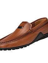 Недорогие -Муж. обувь Кожа Осень Мокасины Удобная обувь Мокасины и Свитер для на открытом воздухе Черный Темно-русый Темно-коричневый