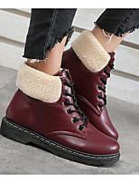 preiswerte -Damen Schuhe PU Winter Springerstiefel Stiefel Niedriger Heel Booties / Stiefeletten für Normal Schwarz / Wein