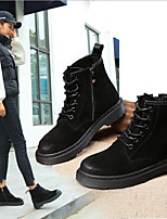 cheap -Women's Shoes Cowhide Nubuck leather Spring Fall Comfort Boots Flat Heel for Casual Black