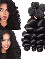 cheap -Malaysian Hair / Loose Wave Wavy One Pack Solution 4 Bundles Human Hair Weaves Gift / Classic / Hot Sale Natural Black Human Hair Extensions Women's