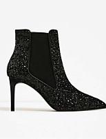 baratos -Mulheres Sapatos Micofibra Sintética PU Outono & inverno Coturnos Botas Salto Agulha Dedo Apontado Botas Curtas / Ankle Preto