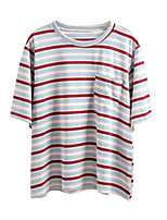 abordables -Tee-shirt Femme, Rayé Couleur Pleine Imprimé Basique