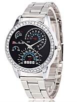 abordables -Femme Quartz Montre Bracelet Chinois Chronographe / Grand Cadran / Imitation de diamant Alliage Bande Luxe / Mode Argent