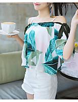 Недорогие -Жен. На выход Блуза С открытыми плечами Цветочный принт