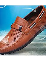 Недорогие -Муж. обувь Кожа Лето Мокасины Мокасины и Свитер Черный / Желтый / Коричневый