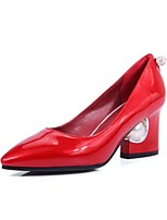 cheap -Women's Shoes Leatherette Fall Basic Pump Heels Chunky Heel Pointed Toe Rhinestone Beige / Red / Pink / Party & Evening