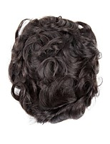 cheap -Men's Human Hair Toupees Wavy Odor Free / Comfy / 100% Hand Tied