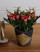 abordables -Fleurs artificielles 1 Une succursale Rustique Roses Fleur de Table