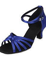 cheap -Women's Latin Shoes Satin Sandal / Heel Buckle Cuban Heel Customizable Dance Shoes Blue / Performance
